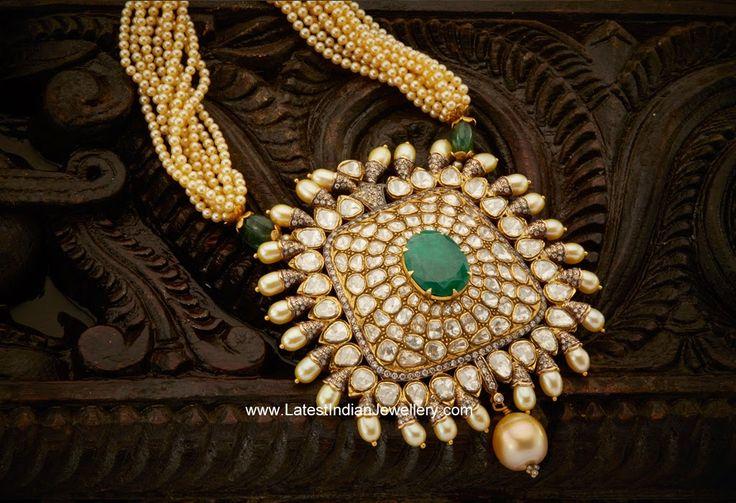 Pearls Mala Pachi Emerald Pendant