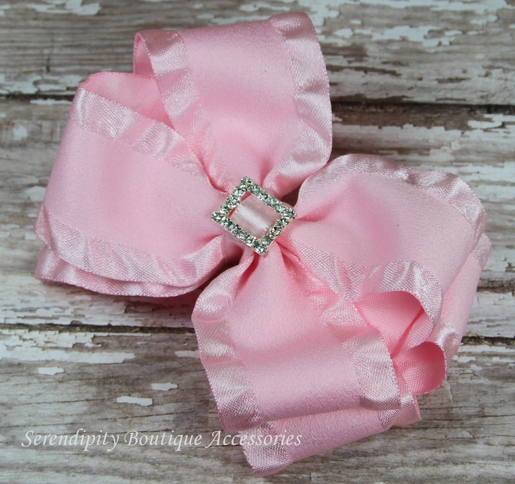 Light Pink Satin Double Ruffle Boutique Girls Hair Bow with Rhinestone Buckle Center - Great for Spring and Easter. $7.99, via Etsy.