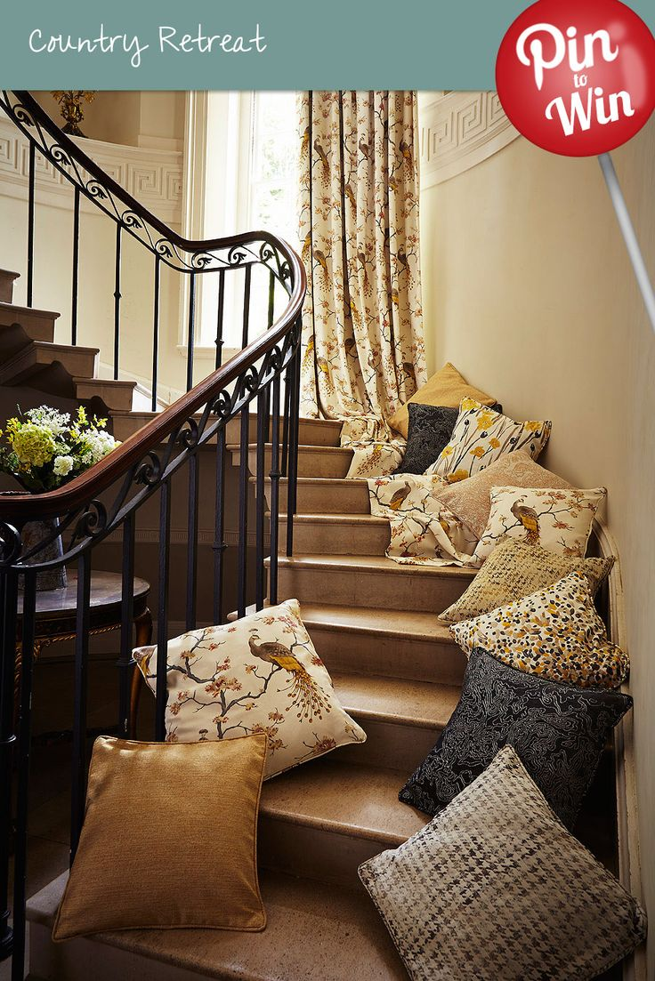 Bird Parade Gold Curtain #Hillarys #PinToWin what a staircase of heavenly fabrics