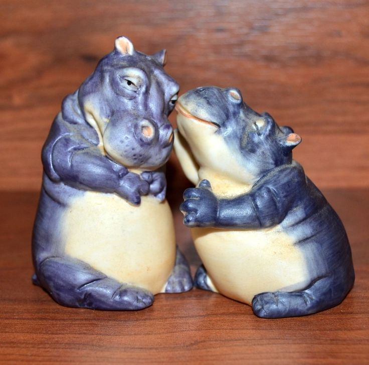 Vintage Noah's Ark Franklin Mint Two by Two 87 Hippopotamus Salt Pepper Shakers