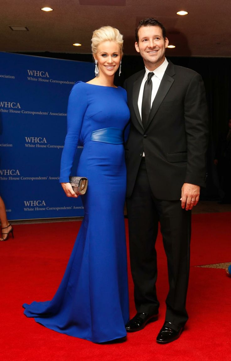Tony Romo wore a simple black suit, while wife Candice Crawford was patriotic in a black gown with blue leather detailing.