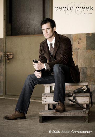 velvet suit, industrial setting