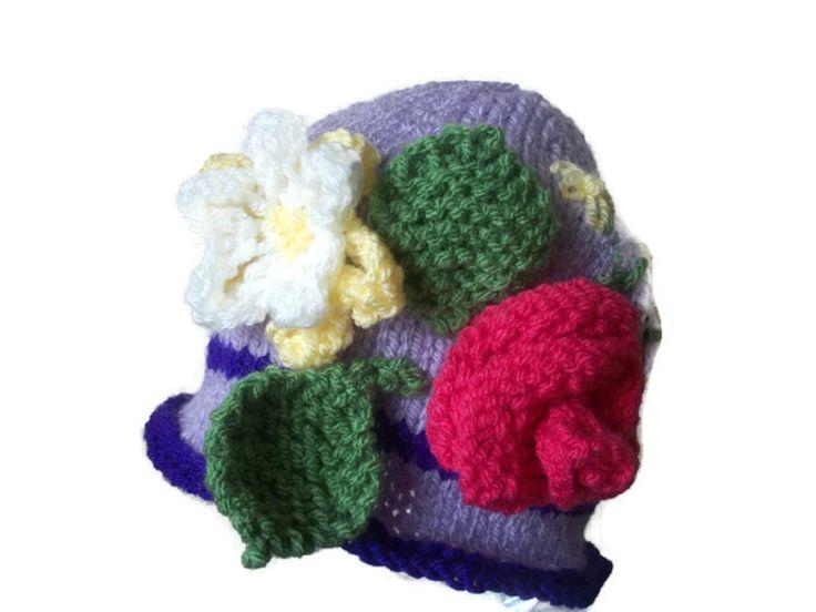 Baby Sun Hat, Floral Easter Bonnet, Spring Cloche, Rose, Flower, Embellished by thekittensmittensuk on Etsy
