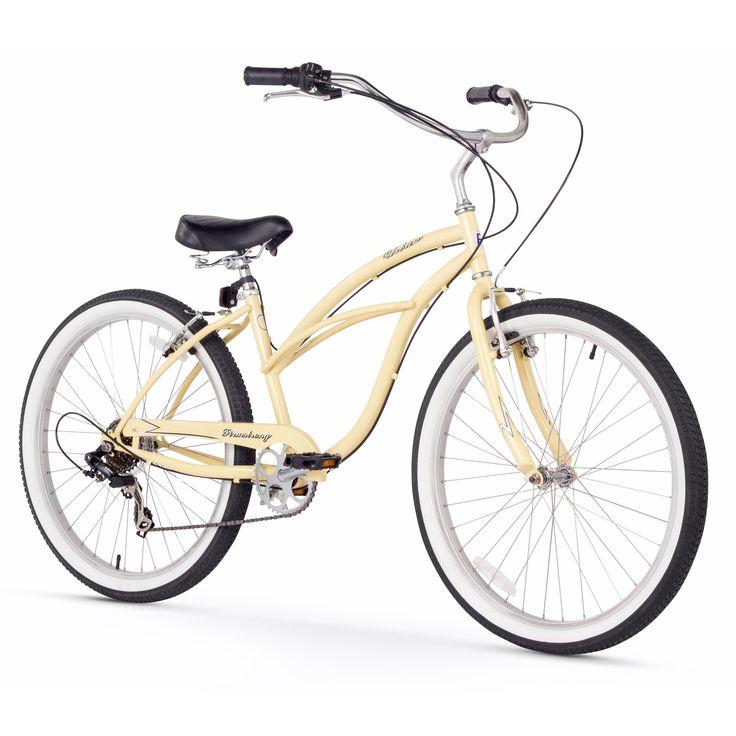 """26"""" Firmstrong Urban Lady Seven Speed Women's Beach Cruiser Bike, Vanilla"""
