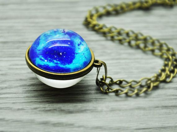Double side nebula necklace outer space universe by Nicestreet2013