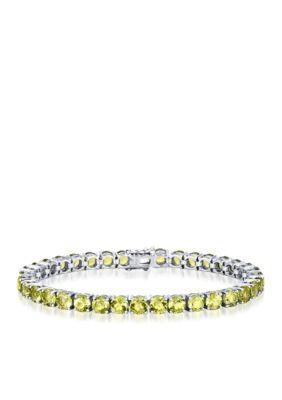 Belk  Co. Green Peridot Bracelet in Sterling Silver