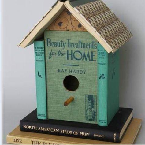 Bird house from books from the Dumpster Divas