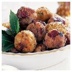 Stuffing Balls 1lb ground pork  6 oz Stove Top Stuffing Mix  3/4C cranberry sauce  1 egg 1/4C melted butter 1C water. Preheat oven to 325. Brown and drain meat and combine with stuffing mix in large bowl. Stir in cranberry sauce, egg, and water. Shape mixture into 15 balls, place on foil-covered baking sheet brush with melted butter. Bake 20 minutes.  Serves 5 (3 stuffing balls each)