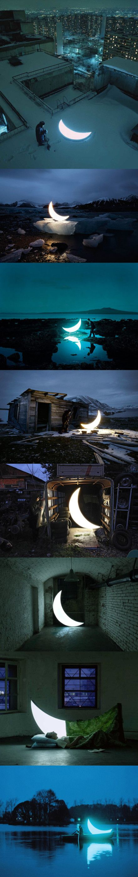 Leonid Tishkov travels the world with his own personal moon and photographs it on his travels.