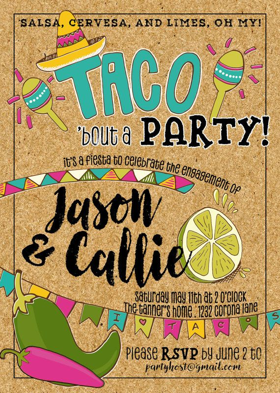 Taco Fiesta Party Invitation Engagement by prettypaperviolet