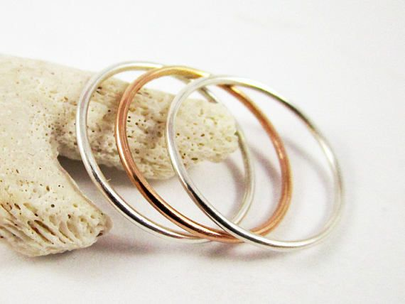 Stacker Ring Set 3 18g Sterling Silver Yellow Gold Filled