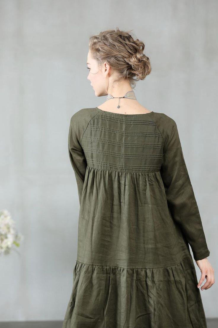 linen dress maxi dress green dress loose fitting dress etsy