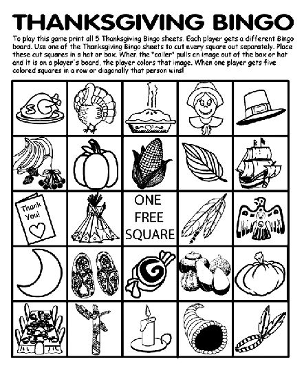Thanksgiving Bingo Board No.1 coloring page