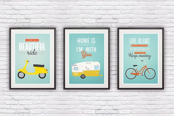 Set of three quote prints, typographic poster, retro, vespa, shasta trailer, bike illustration, motivational print,  wall decor, 8x10, A4
