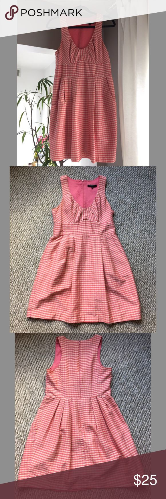 Nanette Lapore pink check pattern sundress Cute casual dress perfect for a weekend picnic. Form-fitting and flattering for pear-shaped figures. Good condition with some signs of wear. Nanette Lepore Dresses Midi