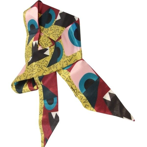 Pre-owned Fendi Monster Limited Edition Runway Exclusive Twilly Scarf... ($325) ❤ liked on Polyvore featuring accessories, scarves, pink, wrap scarves, silk scarves, fendi, pure silk scarves and silk shawl
