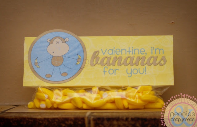 Free Monkey Valentine printable. I'm thinking dried banana chips.