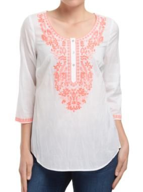 Sussan - Clothing - Shirts - Embroidered bib shirt