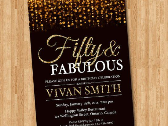 50th birthday invitation for women. Fifty and fabulous. Golden 50.