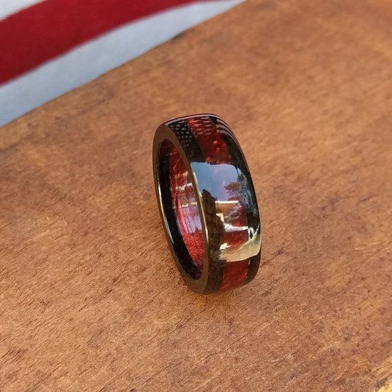 ebony wood ring wooden ring red wedding band wood anniversary gift - Wooden Wedding Rings For Men