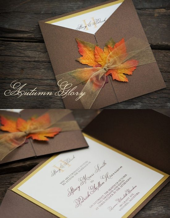 1000 images about wedding invitations – Fall Pocket Wedding Invitations