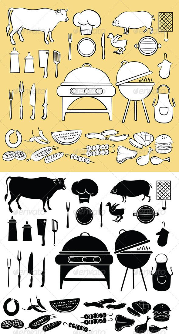 Barbecue Icon Set #GraphicRiver Vector Illustration of Barbecue items Created: 11June13 GraphicsFilesIncluded: JPGImage #VectorEPS #AIIllustrator Layered: No MinimumAdobeCSVersion: CS Tags: BarbecueGrill #ChickenLeg #apron #barbecue #beef #burger #chicken #cookhat #cow #food #fork #grilled #hamburger #hotdog #hotpad #kebab #ketchup #kitchenutensil #mayonnaise #meal #meat #ovenmitt #paprika #picnic #pork #spatula #steak #stove #symbol #watermelon