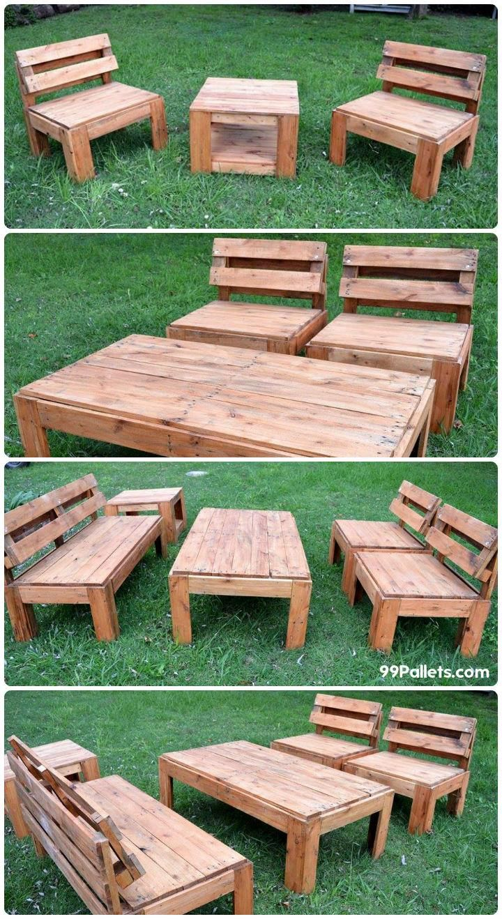 Diy outdoor patio furniture from pallets 99 pallets - Upcycled Pallet Garden Seating Furniture