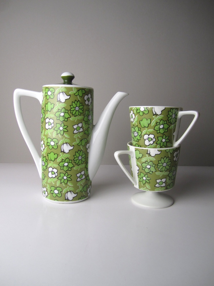 1950s Mid Century Japanese Retro Green Flower--3 Piece Tea Set.