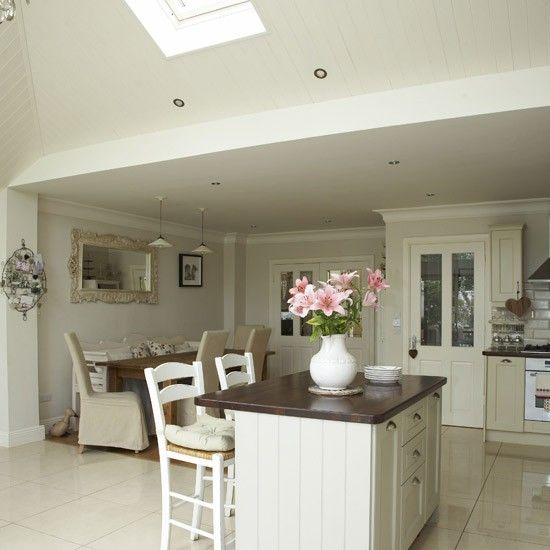 Open-plan neutral kitchen