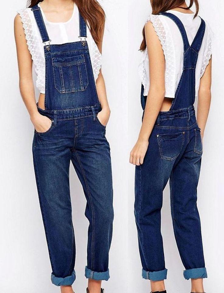NEU Damen Latzhose Latzjeans Jeans XS 34 Indigo Baggy Boyfriend Overall Salopet