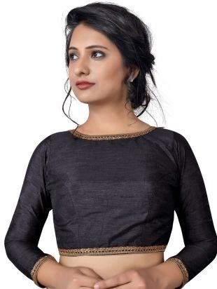 ddce439f1c Black Raw Silk Blouse with Zari in 2019 | Saree blouse patterns ...