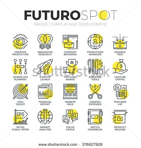 Stroke line icons set of business startup, market vision and brand mission. Modern flat linear pictogram concept. Premium quality outline symbol collection. Simple vector material design, web graphics - stock vector