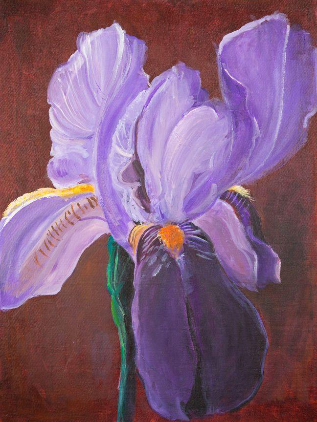 CANVAS Glorious Iris Painting Art Gallery Wrap by Elizabeth Stacke #ArtDecor #buyartforless