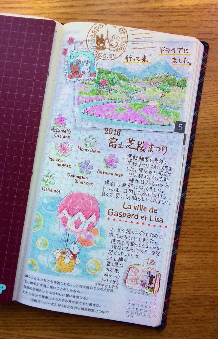 春っぽい1ページ もう、少し季節外れではありますが、芝桜を見に行ってきた日の日記です。