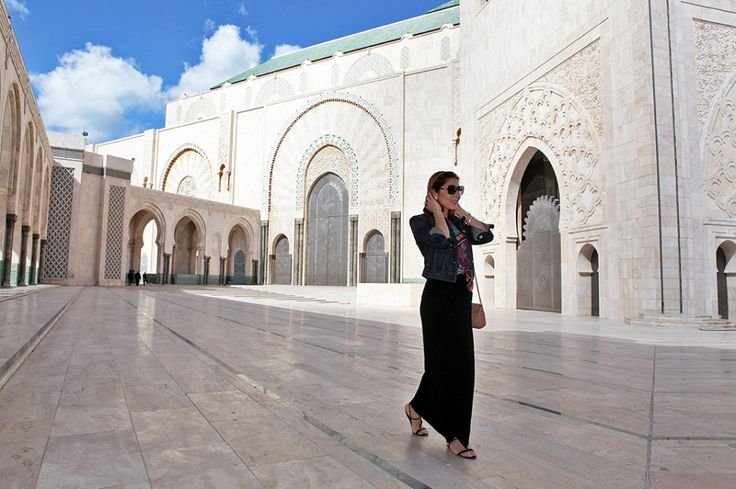 Blame it on Mei Miami Fashion Travel Blogger Morocco Casablanca 2015 Tribal Shirt Long Maxi Skirt Chanel Brooch Jean Jacket Tassel Drop Earrings Movado Bold Bvlgari Sunglasses Hassan II Mosque