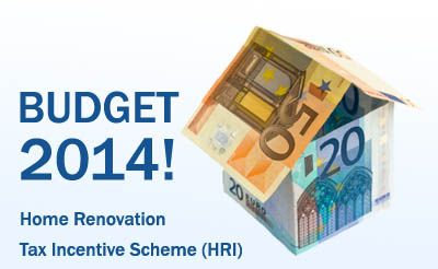 The Home Renovation Tax Incentive Scheme will offer a tax credit at 13.5% to home owners in Ireland undertaking repair or renovation to their home, see below:- http://blog.tradesmen.ie/2013/10/home-renovation-tax-incentive-scheme