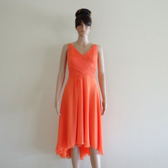 This looks cute & light for summer!  Orange Prom Dress.Orange Bridesmaid Dress. by lynamobley2012, $82.99