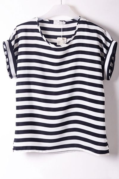 Classic Striped Chiffon Top by: Oasap