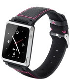 iWatchz Carbon Collection - iPod nano watch bands with Pink Stitching