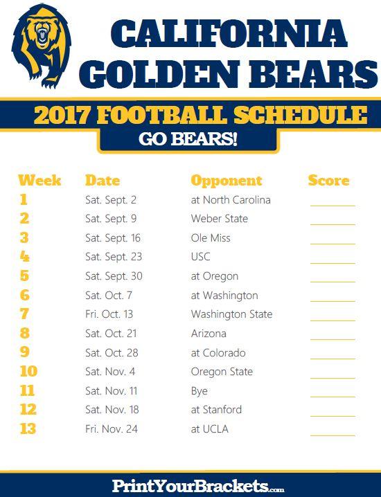 2017 California Golden Bears Football Schedule