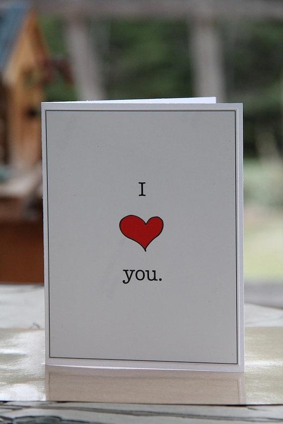I Heart You I love you card by PlainSpeak on Etsy, $2.75