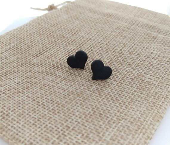 Hey, I found this really awesome Etsy listing at https://www.etsy.com/listing/539182324/black-heart-earrings-stud-polymer-clay