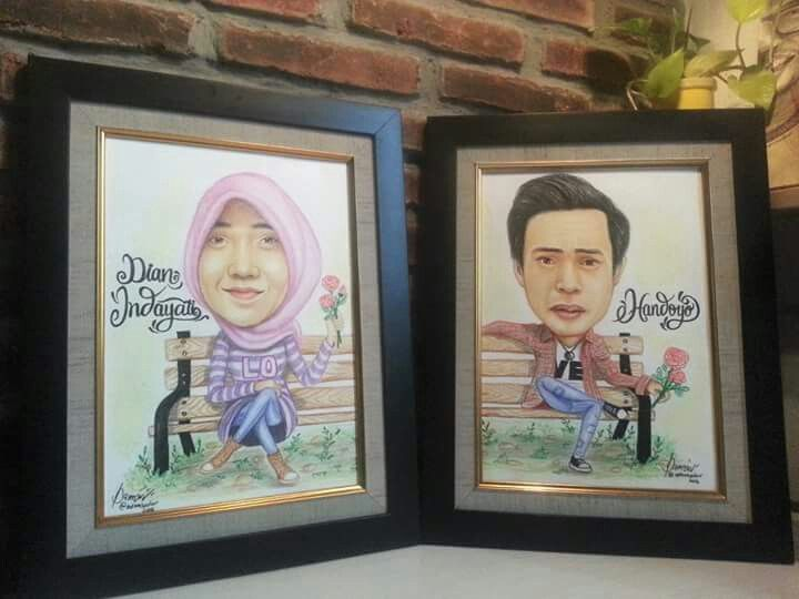 "Couple caricatures ""Color pencils on paper"""