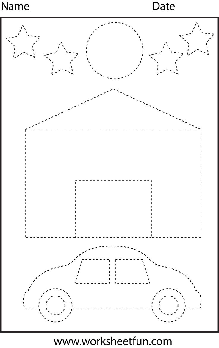 House, car, moon & stars tracing worksheet