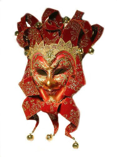 Hand Made Venetian Red/Gold JESTER MASQUERADE Carnevale MASK...absolutely stunning!