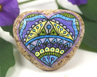 "Hand Painted Stone Mandala ""Hearts of Stone"" Collection, Colorful Small River…"