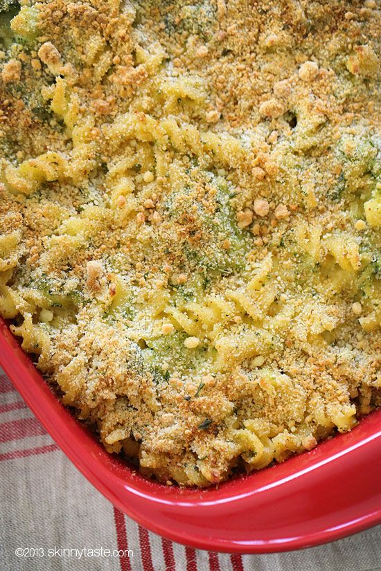 Skinny Taste Baked Broccoli Macaroni and Cheese This was pretty good. Charlie went back for thirds :)  It's like a casserole version of broccoli cheddar soup. Next time, I will make sure to use SHARP Cheddar and to boil the broccoli for much shorter time than I did the pasta. The broccoli was kind of mushy by the time we ate it.