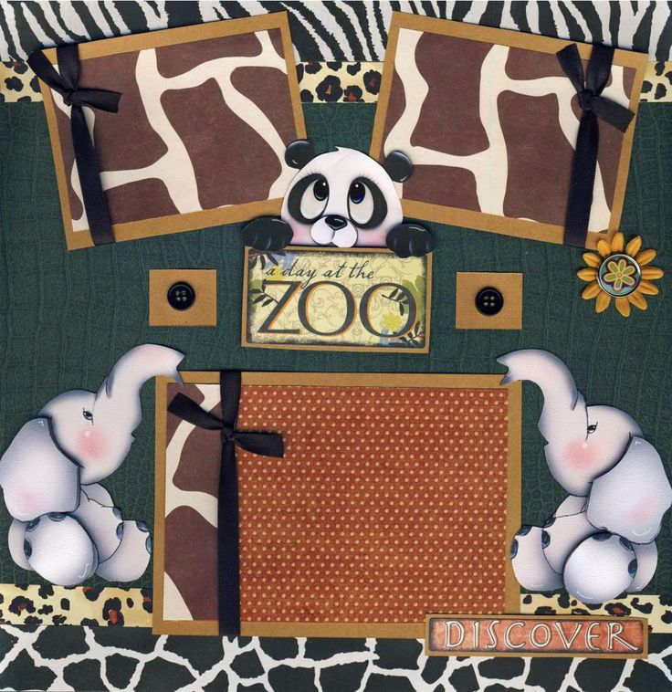 zoo scrapbook layouts | ZOO ~ 2 premade scrapbook pages paper piecing 4 ALBUM scrapbooking 3D ...