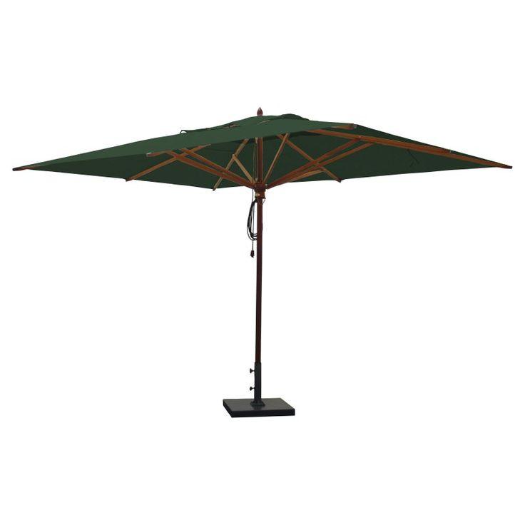 Greencorner 10 x 13 ft. African Mahogany Rectangular Patio Umbrella Forest Green - RC1013QS2245