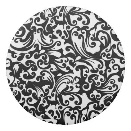 Cute black white abstract background design eraser - black and white gifts unique special b&w style